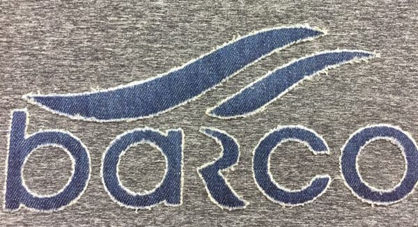 Text graphic decos on Barco logo tee